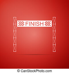 Ribbon in finishing line icon isolated on red background. Symbol of finish line. Sport symbol or business concept. Flat design. Vector Illustration