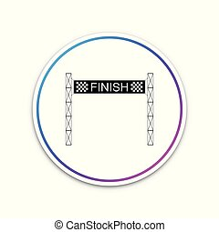 Ribbon in finishing line icon isolated on white background. Symbol of finish line. Sport symbol or business concept. Circle white button. Vector Illustration