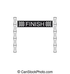 Ribbon in finishing line icon isolated. Symbol of finish line. Sport symbol or business concept. Flat design. Vector Illustration