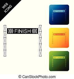 Ribbon in finishing line icon isolated. Symbol of finish line. Sport symbol or business concept. Set icons colorful square buttons. Vector Illustration