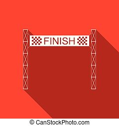 Ribbon in finishing line icon isolated with long shadow. Symbol of finish line. Sport symbol or business concept. Flat design. Vector Illustration