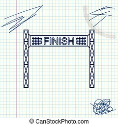Ribbon in finishing line line sketch icon isolated on white background. Symbol of finish line. Sport symbol or business concept. Vector Illustration