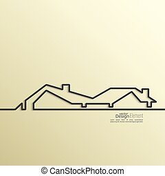 Ribbon in the form of house with shadow and space for text.