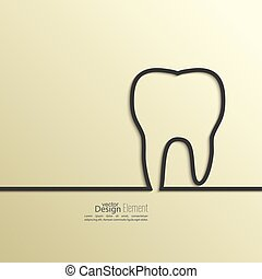 Ribbon in the form of tooth with shadow and space for text. ...