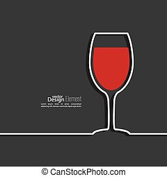 Ribbon in the form of wine glass with shadow and space for text.