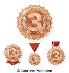 ribbon., jogo, colocação, campeão, 3rd, vencedor, metal, número, achievement., three., realístico, bronze, vector., medalha, redondo, medalhas, vermelho