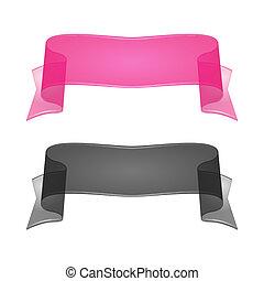 ribbon., jogo, transparente, vidro, vetorial, 2., seda, ou
