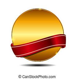 ribbon., keuze, vector, best, etiket, rood