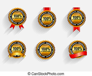 ribbon., komplet, złoty, 100%, etykieta, uiszczenie, wektor, czerwony