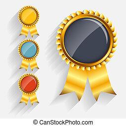 ribbon., komplet, złoty, etykieta, wektor, czerwony