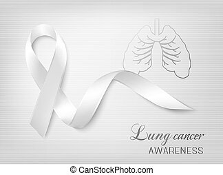 ribbon., lungcancer, medvetenhet, vector.
