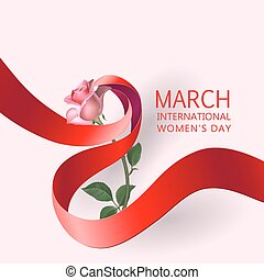 Ribbon March 8 greeting card - Happy Womens Day Paper...