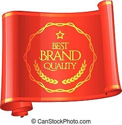 ribbon., marque, marque, courbé, qualité, rouges