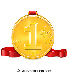 ribbon., medalha, ouro, vermelho