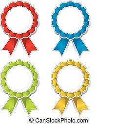 Ribbon medallions - Isolated color ribbon medallions with...