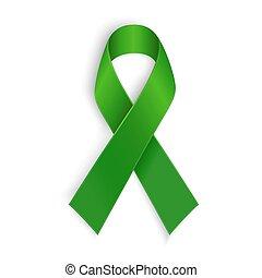 ribbon., mental, symbole., autre, scoliose, vert, conscience...