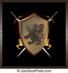 ribbon., miecze, tarcza