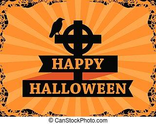 ribbon., octubre, card., marco, halloween, cruz, ilustración, saludo, fondo., vector, rayos, cuervo, 31st., feriado, feliz