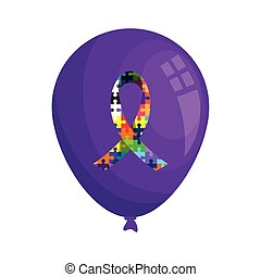 ribbon of puzzle pieces in purple balloon helium