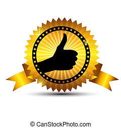 ribbon., or, choix, vecteur, étiquette, mieux