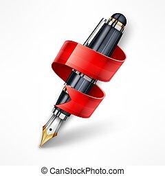 ribbon., penna, vektor, illustration., bläck