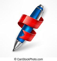 ribbon., penna, vektor, illustration.