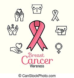 ribbon pink with cancer set icons