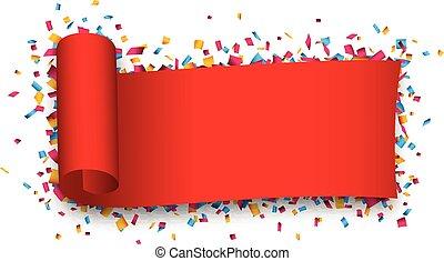 ribbon., piros, göndörített