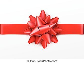 ribbon., presente, isolado, arco, fundo, horizontais, branco vermelho