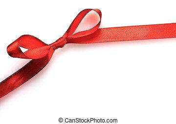 ribbon., presente, macio, em branco, isolado, amarrada,...