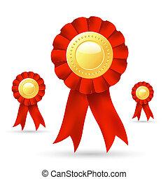 ribbon prize - illustration of ribbon prize on white...