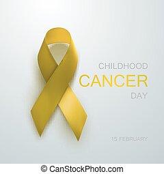 ribbon., rák, tudatosság, sárga, gyermekkor