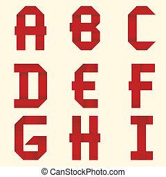 Ribbon red Alphabet