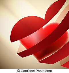 Ribbon red hearts with light. + EPS10
