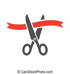 ribbon., rosso, taglio, forbici