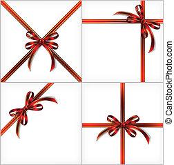 ribbon., sätta, gåva, bakgrunder, vektor, röd