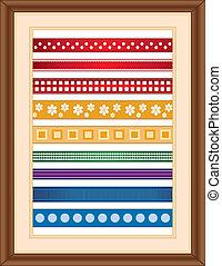 Ribbon Sampler in Wood Frame