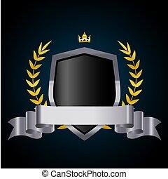 ribbon., schutzschirm, krone, kranz, vektor, lorbeer, silber, illustration.