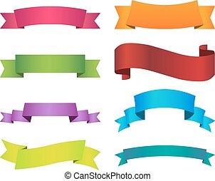 Ribbon set color on white background.