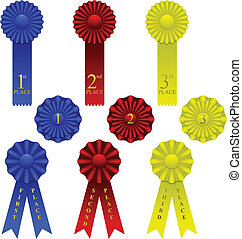 Ribbon set - Set of award ribbons in three colors and styles
