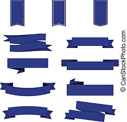 Ribbon set in blue. Ribbon banner. Vector illustration EPS10