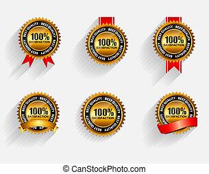 ribbon., set, oro, 100%, etichetta, soddisfazione, vettore, rosso