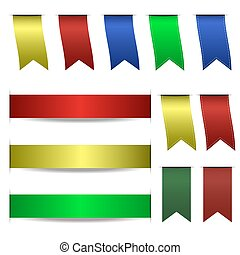 Ribbon set vector isolated on white