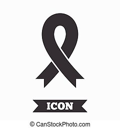 Ribbon sign icon. Breast cancer awareness symbol.