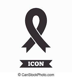 Ribbon sign icon. Breast cancer awareness symbol.