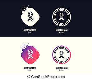 Ribbon sign icon. Breast cancer awareness symbol. Vector