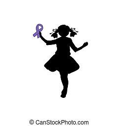ribbon., silhouette, pourpre, épilepsie, day., mondiale, girl