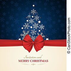 ribbon., snowflakes., árbol, bow., vector, tarjeta, plano de fondo, invitación, navidad, rojo