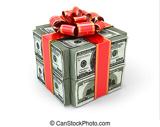 ribbon., soldi, dollari, gift., rosso, pacco