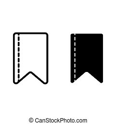 Ribbon strip line and glyph icon. Bookmark vector illustration isolated on white. Ribbon tape outline style design, designed for web and app. Eps 10.